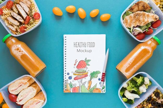 Maquete de comida saudável plana leigos