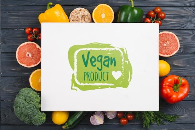 Maquete de comida vegan de produtos biológicos