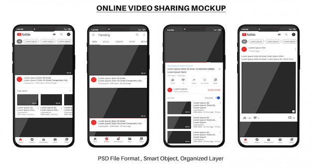 Maquete de compartilhamento de vídeo on-line do youtube no smartphone