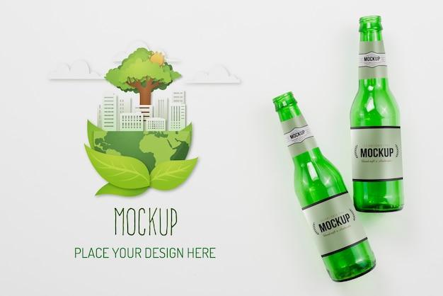 Maquete de composição de objetos recicláveis