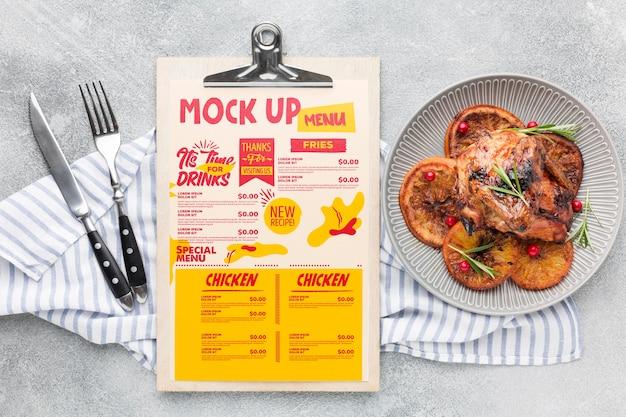 Maquete de composição de refeição de frango