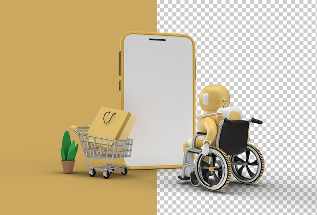 Maquete de compras on-line para dispositivos móveis de renderização 3d criativa com astronauta em cadeira de rodas