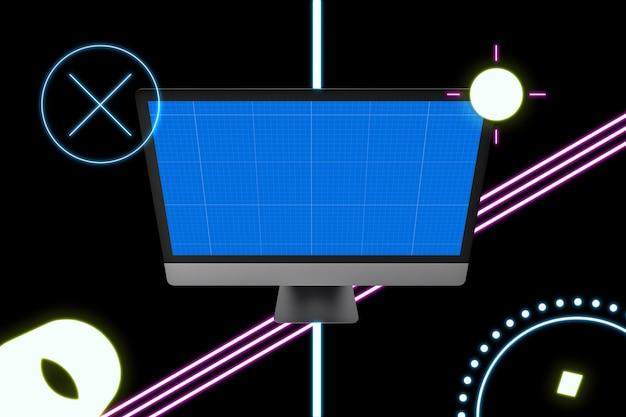 Maquete de computador de néon