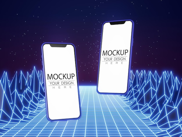 Maquete de computador de telefone inteligente de tela em branco em fundo moderno