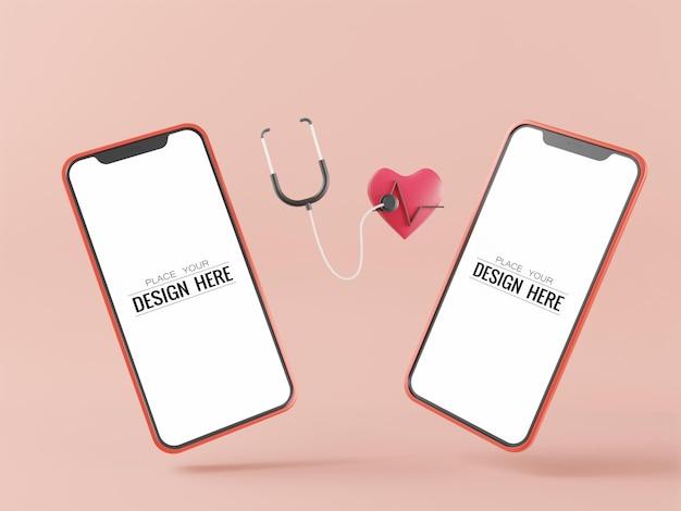Maquete de computador de telefone inteligente de tela em branco para conceito médico