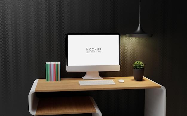 Maquete de computador dekstop em interior moderno