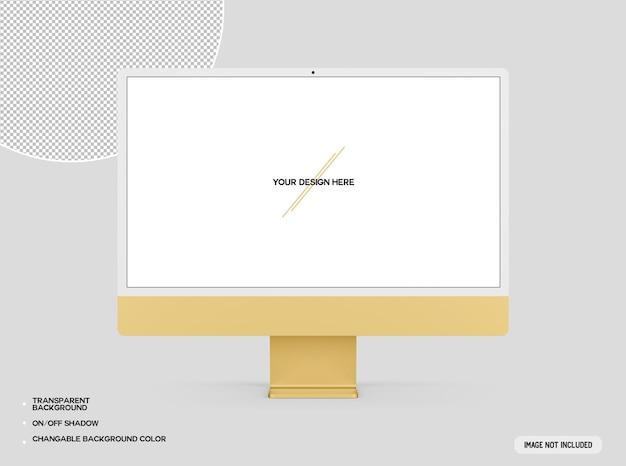 Maquete de computador desktop amarelo