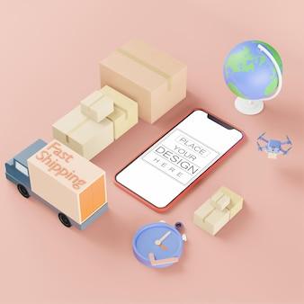 Maquete de computador do telefone inteligente de tela em branco. conceito de frete