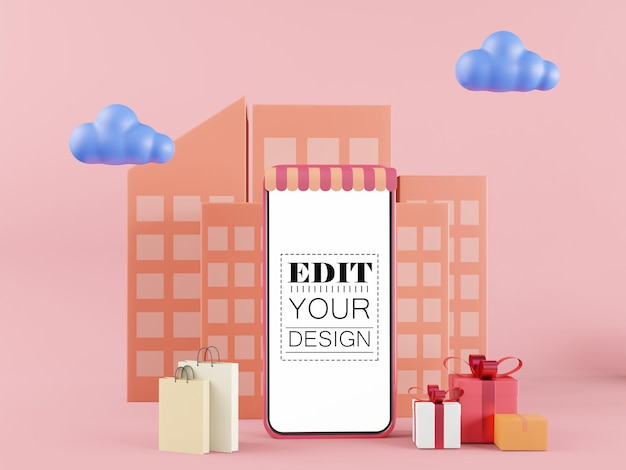 Maquete de computador do telefone inteligente de tela em branco. conceito de loja online