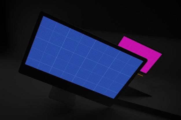 Maquete de computador e laptop escuro
