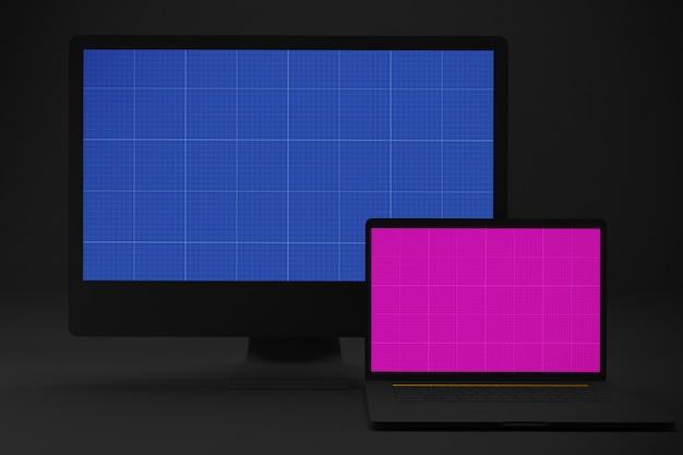 Maquete de computador e laptop