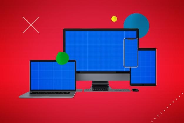 Maquete de computador e smartphones