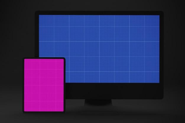 Maquete de computador e tablet escuro