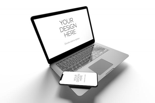 Maquete de computador portátil e smartphone, vista em perspectiva