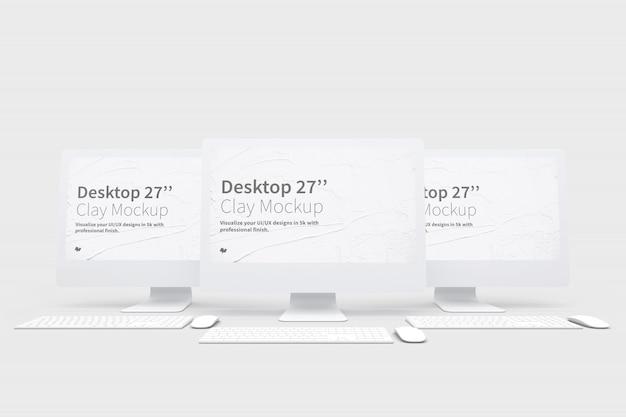 Maquete de computadores desktop com teclado e mouse