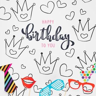 Maquete de conceito colorido feliz aniversário