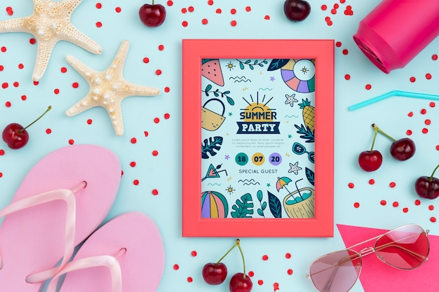 Maquete de conceito colorido verão
