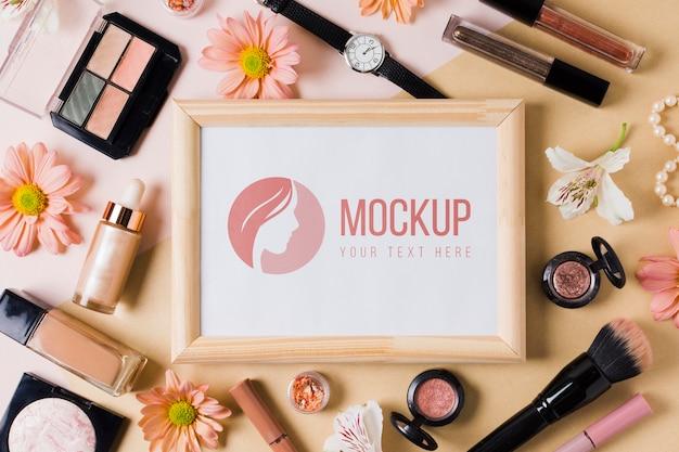 Maquete de conceito de acessórios de maquiagem