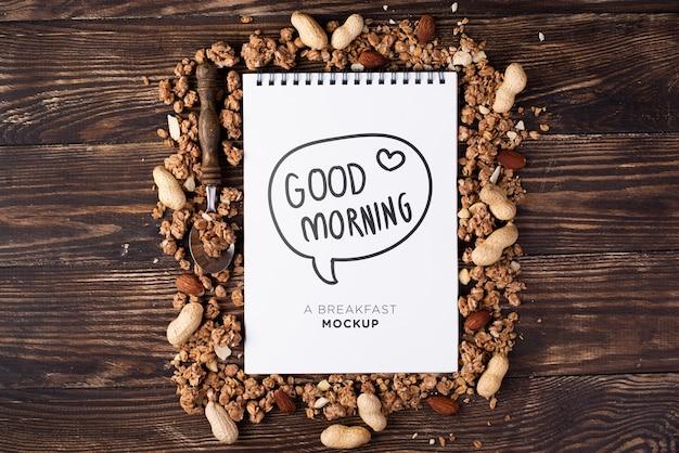 Maquete de conceito de café da manhã saudável Psd grátis