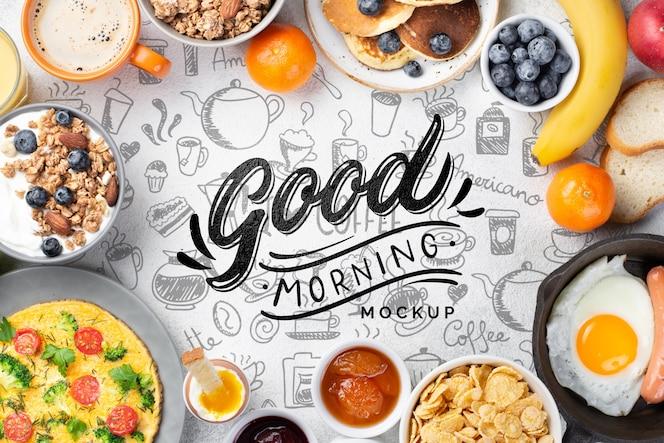 Maquete de conceito de café da manhã saudável