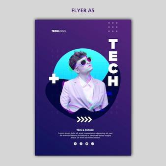 Maquete de conceito de cartaz de tecnologia e futuro