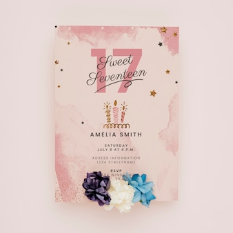 Maquete de conceito de convite de aniversário