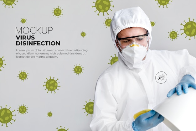 Maquete de conceito de desinfecção por vírus
