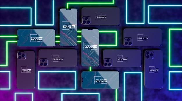 Maquete de conceito de dispositivo de néon