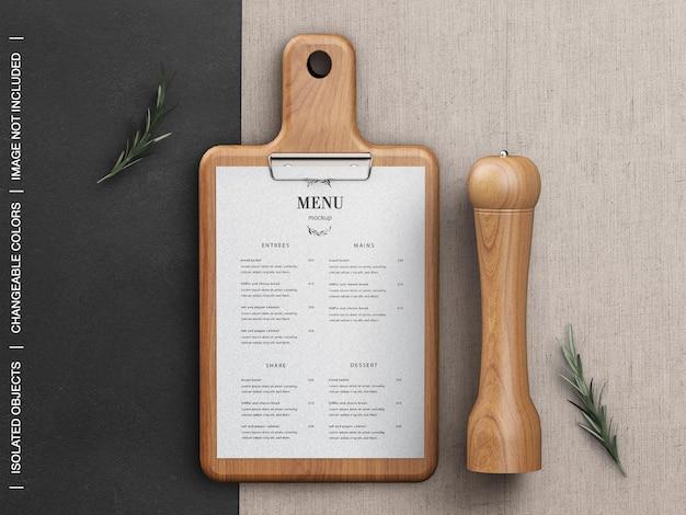 Maquete de conceito de menu de comida de restaurante com tábua de corte