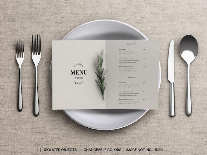 maquete de conceito de menu de comida de restaurante e criador de cena com talheres