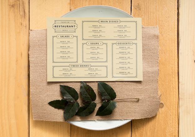 Maquete de conceito de menu de comida