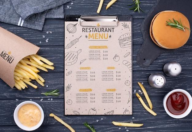 Maquete de conceito de menu de fast-food