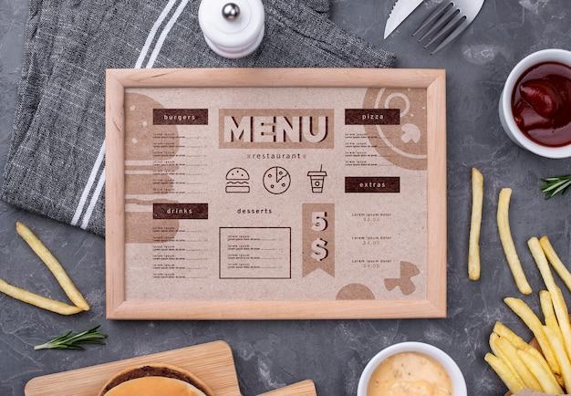 Maquete de conceito de menu de restaurante
