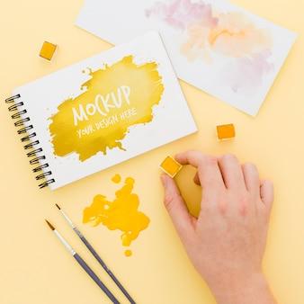 Maquete de conceito de mesa de artista