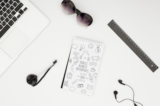 Maquete de conceito de mesa minimalista