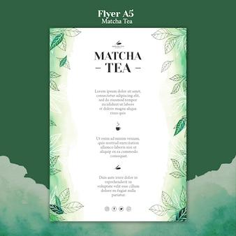 Maquete de conceito de panfleto de chá matcha Psd grátis