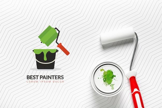 Maquete de conceito de tinta verde