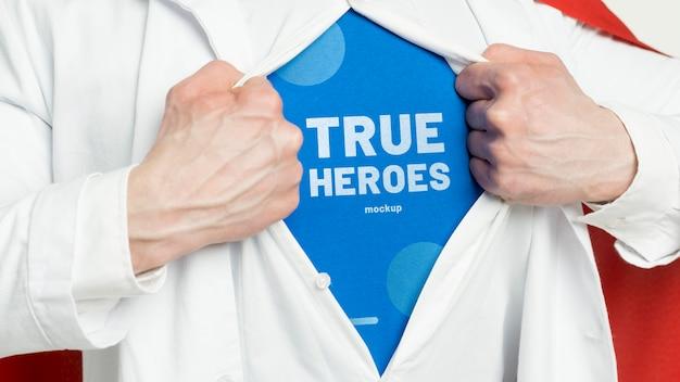 Maquete de conceito de verdadeiro herói de close-up