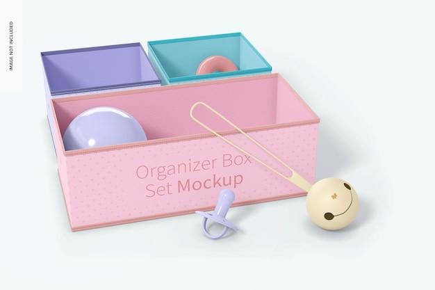 Maquete de conjunto de caixa de organizador de tecido