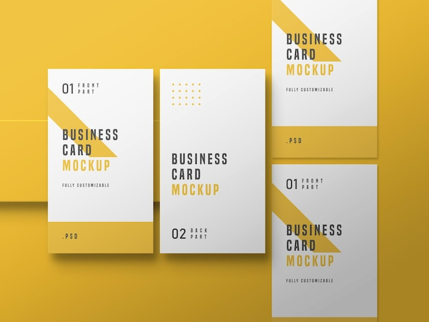 Maquete de conjunto de cartão de visita vertical