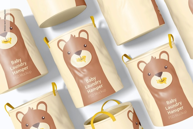 Maquete de conjunto de cesto de roupa suja para bebês