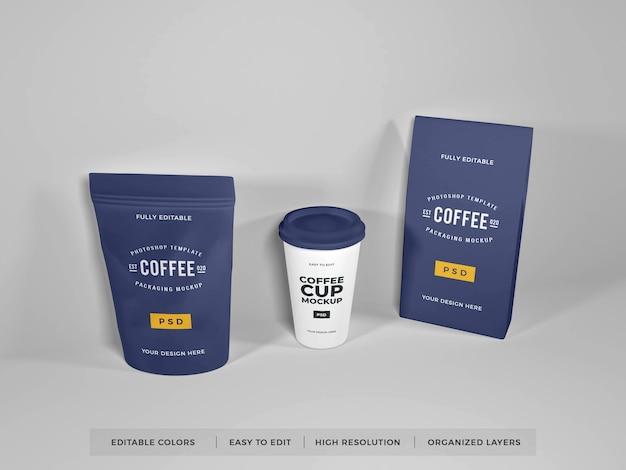 Maquete de conjunto de embalagem de café realista