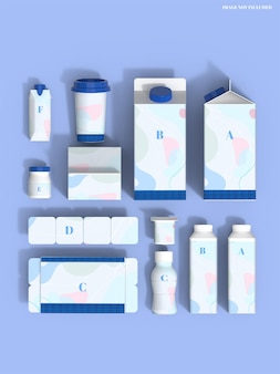 Maquete de conjunto de embalagem de leite