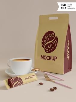 Maquete de conjunto de embalagens de café