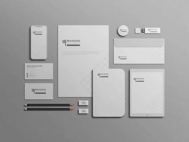 Maquete de conjunto de papelaria branco