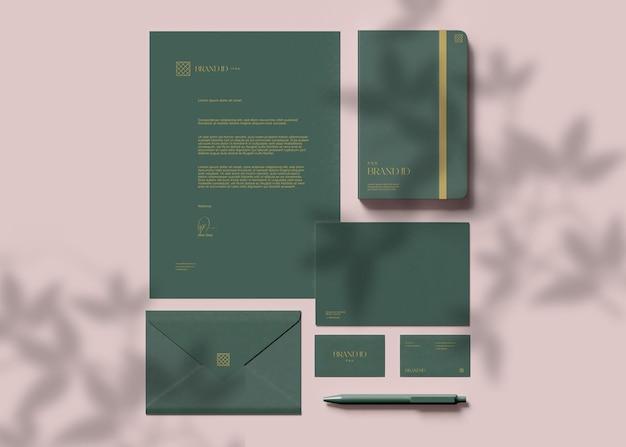 Maquete de conjunto de papelaria comercial