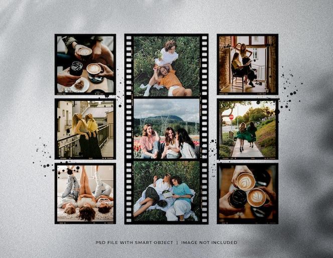 Maquete de conjunto de tira de filme de foto vintage com manchas de tinta
