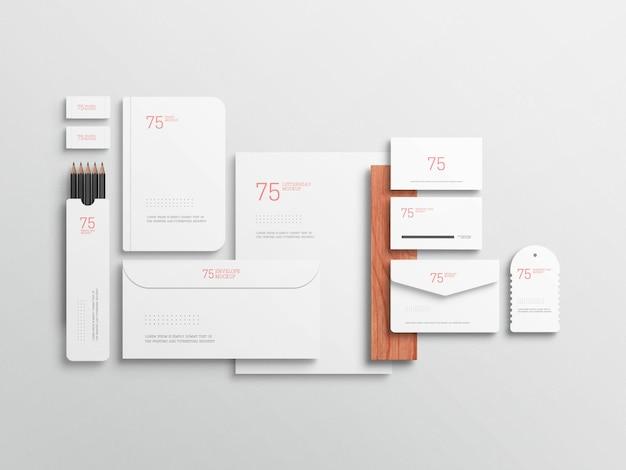Maquete de conjunto estacionário branco minimalista