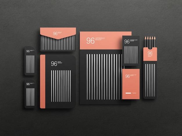 Maquete de conjunto estacionário preto elegante Psd grátis