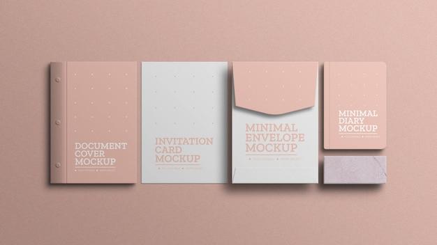 Maquete de conjunto mínimo de papelaria
